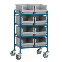 Wózek dostawiany fetra® z otwartymi pojemnikami magazynowymi