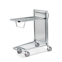 Wózek magazynowo-transportowy, składana podłoga z mechanizmem sprężynowym