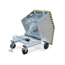 Wózek skrzyniowy uchylny, zpodwoziem ikieszeniami wjazdowymi, ocynkowany