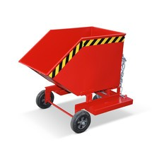 Wózek skrzyniowy uchylny, zpodwoziem ikieszeniami wjazdowymi, pojemność 0,25 m³