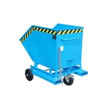 Wózek skrzyniowy uchylny, zpodwoziem ikieszeniami wjazdowymi, pojemność 0,4 m³