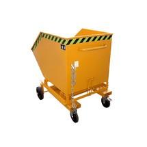 Wózek skrzyniowy uchylny, zpodwoziem ikieszeniami wjazdowymi, pojemność 0,6 m³