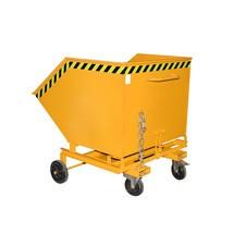 Wózek skrzyniowy uchylny, zpodwoziem ikieszeniami wjazdowymi, pojemność 1 m³