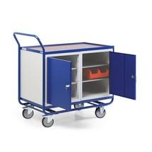 Wózek warsztatowy, 2 szafki drzwiowe na zawiasach, nośność 300 kg