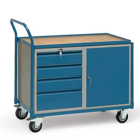 Wózek warsztatowy fetra®, szafka, 4 szuflady