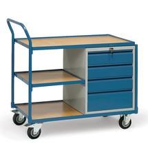 Wózek warsztatowy fetra® z szafką i 3 piętrami