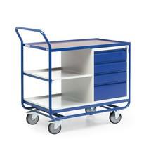 Wózek warsztatowy, szafka pojemnik z szufladami owa, 3 półki, nośność 300 kg