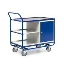 Wózek warsztatowy, szafka z drzwiami zawiasowymi, 3 półki, nośność 300 kg