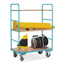 Wózki piętrowe Ameise® 2 ściankami z poprzeczkami. Udźwig 250 kg. 3 powierzchnie ładunkowe. Różne rozmiary.