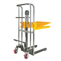 Wózki widłowe z platformą podnoszoną ręcznie. Udźwig 400 kg. Wys. podnoszenia 1,2 lub 1,5 m.