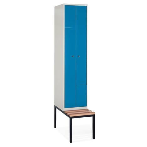 Z-garderobekast, bank + 2 compartimenten + vaste deuren