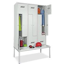 Z-Garderobenschrank, 4 Abteile, 2100x830x500/800 (HxBxT), sitzbank