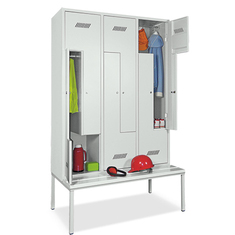 Z-Garderobenschrank, 6 Abteile, 2100x1230x500/800 (HxBxT), sitzbank