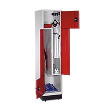 Z-Garderobenschrank mit 2 Abteile + feste Türen