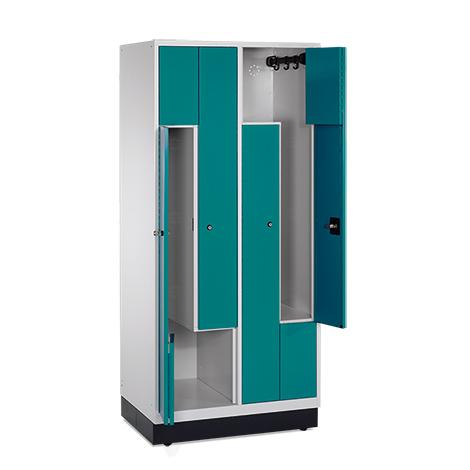 Z-Garderobenschrank mit 4 Abteile + feste Türen