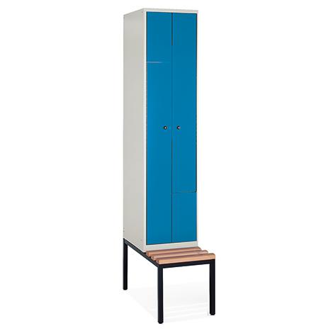 Z-Garderobenschrank mit Unterbau-Sitzbank + 2 Abteile + Falttüren