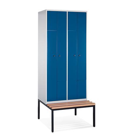 Z-Garderobenschrank mit Unterbau-Sitzbank + 4 Abteile + Falttüren