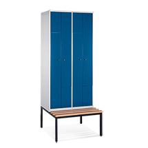 Z-Garderobenschrank mit Unterbau-Sitzbank + 4 Abteile + feste Türen
