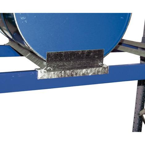 Zabezpieczenie przed zbyt głębokim wsunięciem do regałów na beczki z wanną ociekową, ocynkowane