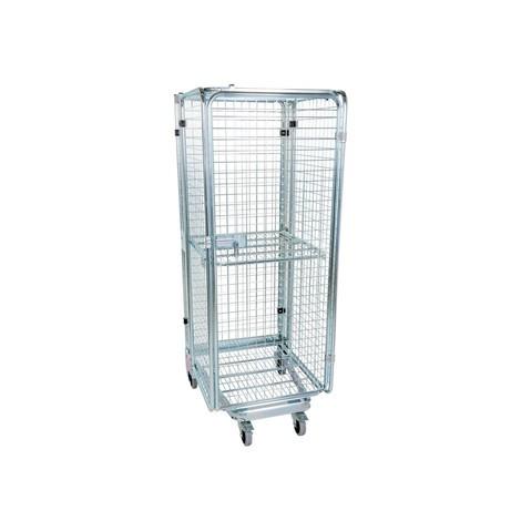 Zabezpieczony przed kradzieżą pojemnik ze stalowym dnem, z możliwością wsuwania jeden w drugi