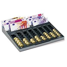 Zählbrett für Euromünzen und Scheine mit Metallschale