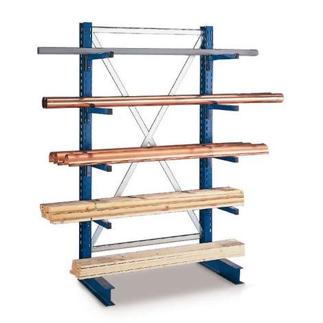 Základné pole konzolového regálu META, jednostranné, nosnosť až 220kg