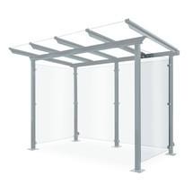 Zijwand voor overkapping van glas en staal