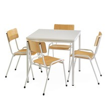 Zitgroep BASIC complete aanbieding: 1 vierkante tafel + 4 stoelen