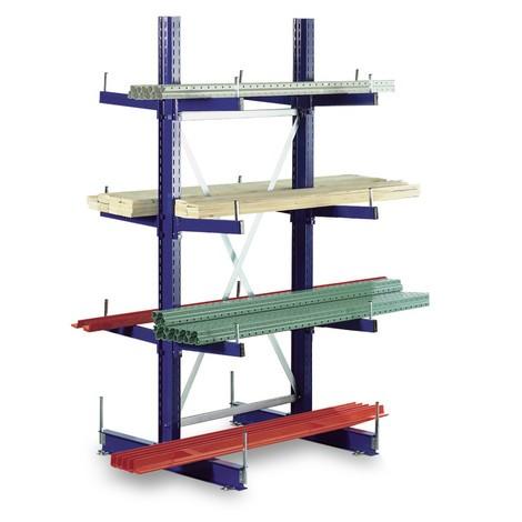 Základné pole konzolového regálu META, obojstranné, nosnosť až 220kg