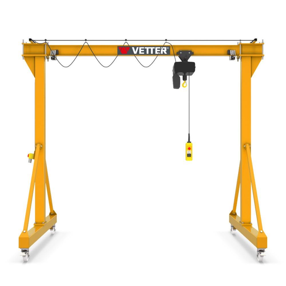 Żuraw bramowy VETTER wraz z elektryczną wciągarką łańcuchową ELECTROLIFT, wersja mobilna