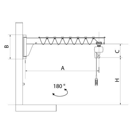 Żuraw obrotowy VETTER z elektryczną wciągarką łańcuchową ELECTROLIFT, przyścienny, niskoprofilowa konstrukcja