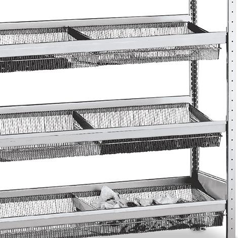 Zusätzliche Ebene für Weitspannregal mit Gitterkörben