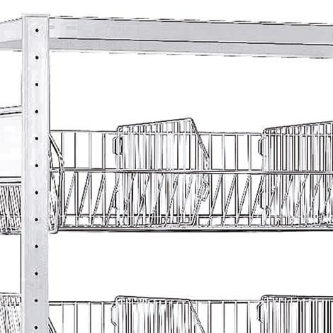 Zusätzliche Fachkorbebene für Fachbodenregal mit Gitterkörben