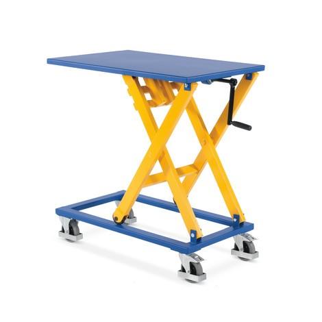 Zvedací stůl s nůžkovým mechanismem s klikou