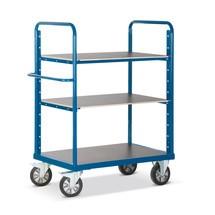 Zware lading etagewagen Rotauro met 3 of 4 legborden. Capaciteit 1200kg