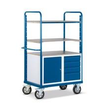 Zware lading etagewagen Rotauro met kast. Capaciteit 1200kg, 3 legborden