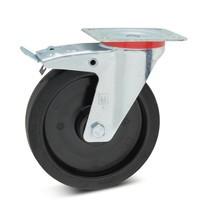 Zwenkwiel Wicke van elastisch massief rubber, velg van kunststof, incl. vastzetrem