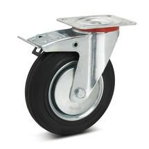 Zwenkwiel Wicke van massief rubber premium, incl. vastzetrem